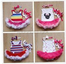 3PCS Baby Infant Girls Romper Tutu Dress Bowknot Headband Shoes Costume SZ 3-18M