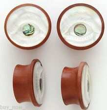 RARE EVIL EYE SABA WOOD MOTHER OF PEARL EAR GAUGES PLUGS SIZE  8mm to 30 mm NEW!