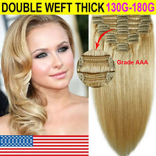 """THICK 18"""" 20"""" 22"""" Clip In Remy Human Hair Extensions Full Head Double WEFT E615"""