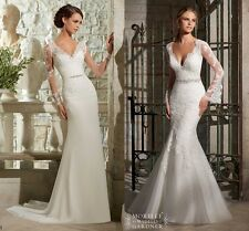 2015 Sexy Backless Lace Sheath long sleeve Wedding dress Bridal gown Custom Size