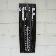 Rustic Vintage Wooden Black or White Indoor Kitchen Garden Shed Thermometer