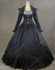 Gothic Victorian 3-PC Gown Period Dress Ball Gown Reenactment Clothing BLACK 167