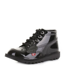 Kickers Kick Hi Girls Junior Black Patent Leather Boots School Shoes Uk Size