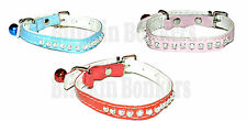 NEW DIAMANTE PET CAT KITTEN PU LEATHER COLLAR SAFETY ELASTIC MATCHING BLING BELL