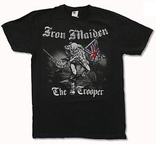 "IRON MAIDEN ""TROOPER SKETCHED"" BLACK SLIM FIT T-SHIRT NEW OFFICIAL ADULT ED"