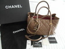 Auth CHANEL 12A Beige Caviar Leather GRAND SHOPPING Tote Bag