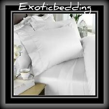 White Solid 4-Piece Bed Sheet Set 1500 Thread Count Egyptian Cotton
