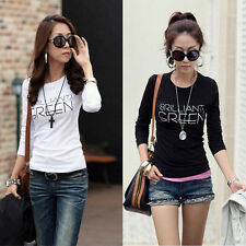 Fashion Long Sleeve Women Crew Neck T-Shirts Bottoming Shirt Tops Tees Pop