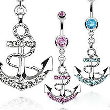 Cool Rhinestone Anchor Dangle Button Barbell Belly Navel Ring Bar Body Piercing