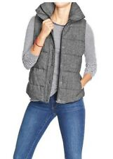 NEW WOMENS 2XL LT L TALL OLD NAVY QUILTED TWEED PUFFER VEST BLACK GRAY JACKET
