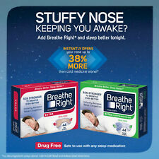 Breathe Right EXTRA Nasal Strips, 44 Count Nose Congestion Allergies Snoring NEW