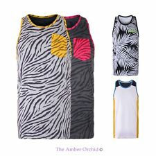UNISEX MENS 93 NEON ANIMAL PRINT STYLE T-SHIRT POCKET TANK TOP SUMMER VEST S-XL
