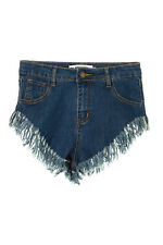 Womens Ladies High Leg High Waist Frayed Denim Shorts Hot Pants Medium Blue Wash