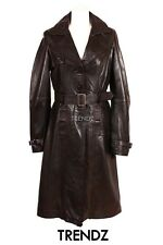 Ladies TRENCH BLACK KNEE LENGTH (1123) Classic Lambskin Leather Jacket Coat Mac