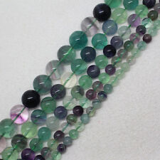 6-14mm Natural Multicolor Fluorite Round Loose Beads 15""