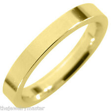 MENS WEDDING BAND ENGAGEMENT RING YELLOW GOLD COMFORT FIT GLOSS FINISH 3mm