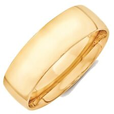 7mm 10K Yellow Gold Comfort Fit or Half Round Wedding Ring Band Size 5-13