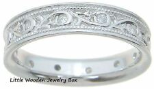 Antique Style Carved CZ Wedding Band Women's Ring Solid 925 Sterling Silver