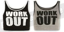 Ladies Workout Cropped Vest Top Slogan Text Gym Bunny Girl Celeb T Shirt Cool