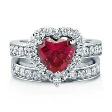 Silver Heart Shaped Simulated Ruby CZ Halo  Engagement Ring Set 2.82 CT