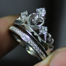 Size 5-8 NICE Jewelry Ladys 925 Silver White Sapphire Crown Ring Set HOT