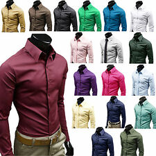 Luxe Hommes Formell Chemises Slim Fit T-Shirt Manches Longues Casual Dress Shirt