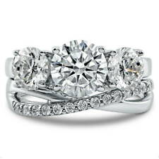 BERRICLE Sterling Silver CZ 3-Stone Criss Cross Engagement Ring Set 3.93 Carat