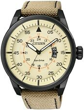Citizen Eco-Drive Aviator Black IP Cream Dial 100m Sports Nylon Watch AW1365-19P