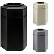 30 Gallon Commercial Zone Hex Trash Can Indoor Outdoor Large Waste Container Lid