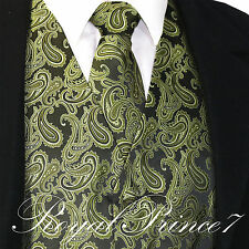 Men's Olive Green Paisley Tuxedo Dress Vest Waistcoat & Neck tie Wedding Prom