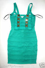 NWT bebe green straps cutout cage back bandage party club top dress XS S M L