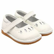 Girls Toddler Childrens Kids Real Leather Squeaky Shoes Mary Janes - Matt White