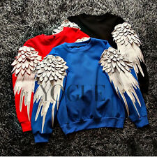 3D Womens Feather Long Sleeve Pullover Jumpers Hoodies Sweater Sweatshirts Tops