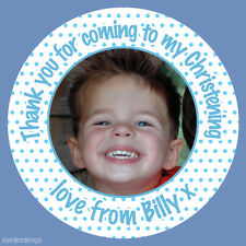 Personalised Boys Christening Birthday Party Night Photo Stickers Labels - N436