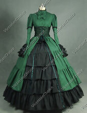 Victorian Lace Corset Period Dress Ball Gown Steampunk Reenactment Costume 068