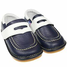Boys Girls Toddler Childrens Real Leather Squeaky Shoes - Navy Blue & White