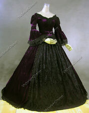 Gothic Victorian Velvet Period Dress Reenactment Theatre Halloween Costume 153