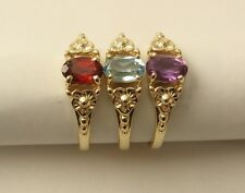 GENUINE 9K 9ct SOLID GOLD NATURAL GARNET, AMETHYST,BLUE TOPAZ DRESS RING
