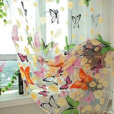 Fashion Home Valance Colorful Butterfly Print Window Tulle Voile Sheer Curtain
