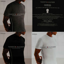 Tommy Hilfiger Mens Technical Crew Neck T-Shirt One Trim Fit Tee Black White