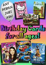 PERSONALISED birthday card. Large A5 size 100ss of designs inc disney greetings.