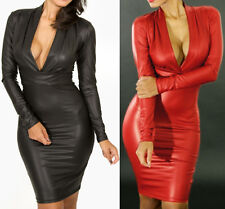 Sexy Women Black PU Plunging V-neck Long-sleeve Club Cocktail Faux Leather Dress