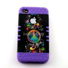 Peace Music Purple 2 in 1 Rocker Hybrid Skin & Snap-On Case Cover For iPhone 4