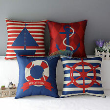 Sailing Anchor Rudder Pattern Cotton Linen Throw Pillow Case Cushion Cover Decor