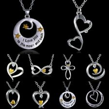 2015 New Love you to the moon and back Silver Gold Heart Crystal Bib Necklace
