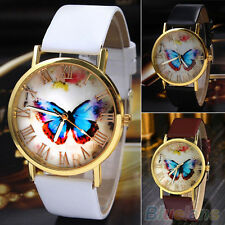 LADY UNIQUE BUTTERFLY VINTAGE FAUX LEATHER QUARTZ ANALOG DRESS WRIST WATCH GIFT