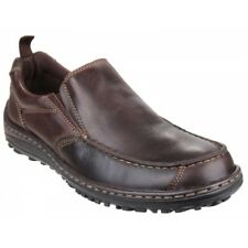 Hush Puppies BELFAST SLIP ON_MT Mens Casual Leather Dual Fit Outdoor Shoes Brown