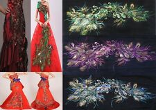 Embroidered Purple/Blue/Green Sequins Peacock Feather Sew Appliques 125cmX60cm