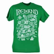 Ireland Country Map Quest City Green T shirt Tee Men's  Irish