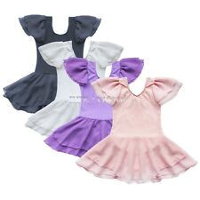 Girls Gymnastics Dance Dress Kid Ballet Tutu Leotard Skate Costume Tulle  Skirt